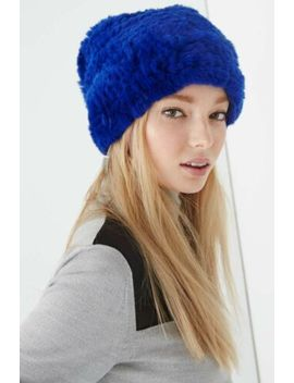 Luxury Rebecca Minkoff Women's Blue 100% Rabbit Fur $198 Knit Hat Os by Rebecca Minkoff