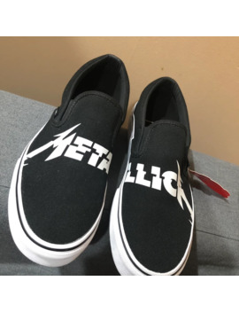 Metallica X Classic Slip On Black White by Vans  ×