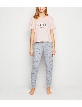 Pink Christmas Penguin Slogan Jogger Pyjama Set by New Look