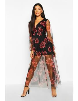 Floral Mesh Wrap Maxi Dress by Boohoo