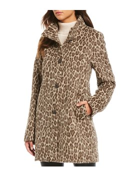 Alpaca Wool Blend Cheetah Print Stand Collar Coat by Katherine Kelly