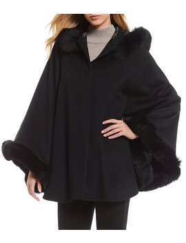 Fox Fur Trim Wool Cashmere Blend Cape by Katherine Kelly
