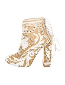 Demi Embroidery Mesh Booties by Marchesa