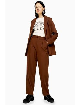 Brown Pleated Slouch Trousers by Topshop