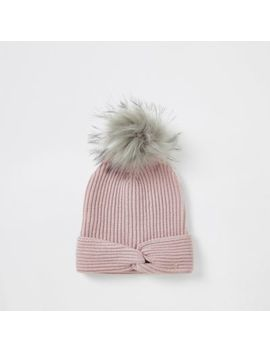 Pink Twisted Front Knitted Beanie Hat by River Island