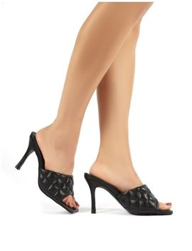 Bossy Black Pu Quilted Heeled Mules by Public Desire
