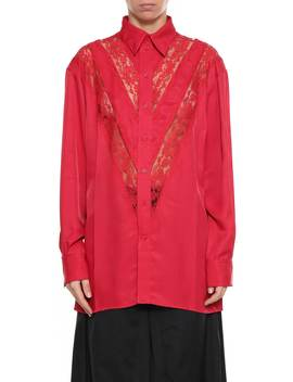 Shirt With Lace Details From Céline In Rosso by Celine