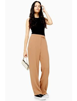 Camel Pintuck Wide Leg Trousers by Topshop