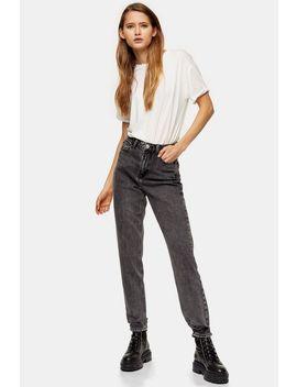 Grey Rip Hem Mom Jeans by Topshop