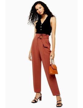 Brown Belt Peg Trousers by Topshop