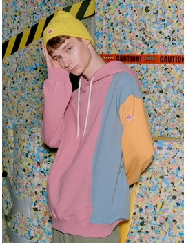 Block Color Schemes Hooded T Shirt Pink S9 W05008 by General Idea Standard