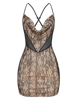 Black Strappy Lace Lined Cowl Neck Bodycon Dress by Prettylittlething