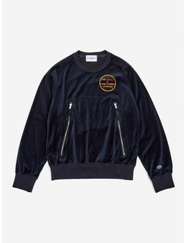 Velour Sweatshirt   Navy by Black Weirdos