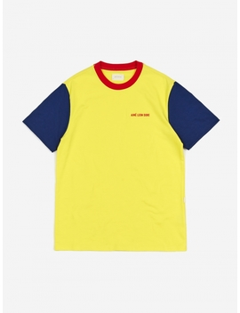 Colour Blocked Logo T Shirt   Highlighter Yellow by Aime Leon Dore