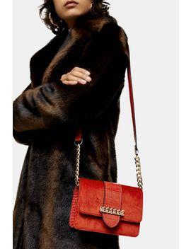 Como Rust Velvet Cross Body Bag by Topshop