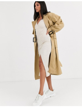 Asos Design Tall Clean Utility Trench Coat In Cream by Asos Design