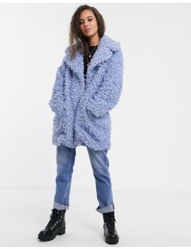 Asos Design Petite Luxe Borg Coat In Blue by Asos Design