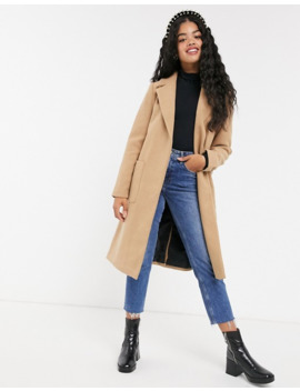 Pimkie Tie Waist Coat In Brown by Pimkie