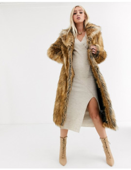 Asos Design Luxe Vintage Inspired Faux Fur Maxi Coat In Brown by Asos Design