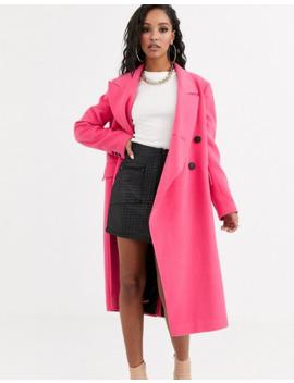 Asos Design Asymmetric Front Formal Coat In Pink by Asos Design