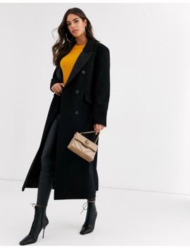Asos Design Tall Tux Maxi Coat In Black by Asos Design