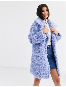 Asos Design Luxe Borg Coat In Blue by Asos Design
