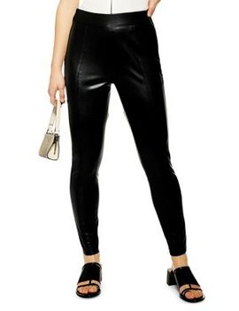Petite Piper Skinny Faux Leather Pants by Topshop