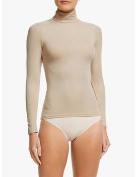 John Lewis & Partners Heat Generating Ribbed Roll Neck Thermal Top, Natural by John Lewis & Partners