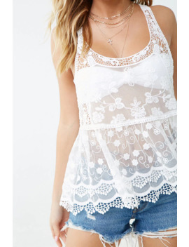 Sheer Floral Embroidered Top by Forever 21