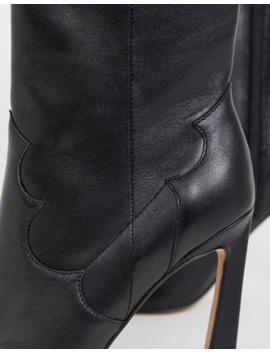 Asos Design   Ebony   Bottines Style Western En Cuir Avec Talons Hauts   Noir by Asos Design
