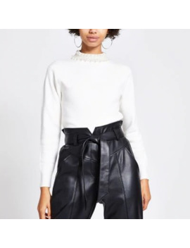 Cream Pearl Embellished Neck Knitted Jumper by River Island