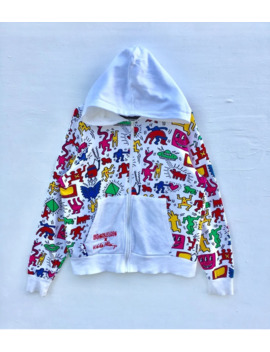 Superb!! All Over Print Multicolor Keith Haring X Big Bang Hoodie Sweatshirt Very Good Multicolor Design!! Keith Haring From Pop Art!! Nice Design And Hard To Find!! by Keith Haring  ×