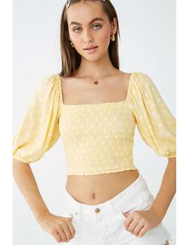Polka Dot Balloon Sleeve Smocked Top by Forever 21