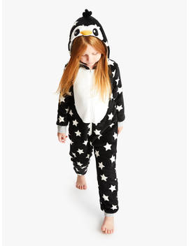 John Lewis & Partners Girls' Penguin Onesie, Black by John Lewis & Partners