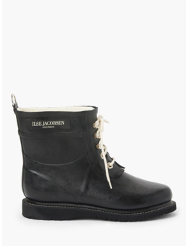 Ilse Jacobsen Hornbæk Short Rubber Lace Up Boots, Black by Ilse Jacobsen HornbÆk