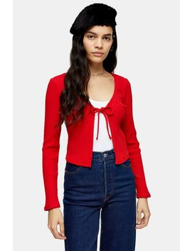 Red Tie Front Cardigan by Topshop