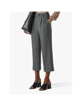Whistles Turn Up Cropped Trousers, Grey by Whistles