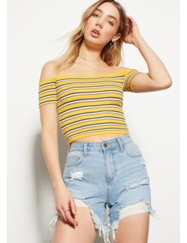 Mustard Striped Off The Shoulder Crop Top by Rue21