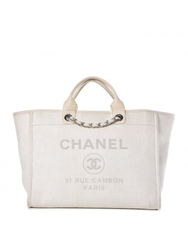 Chanel Canvas Large Deauville Tote White by Chanel