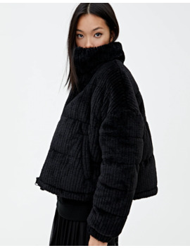 Black Faux Fur Puffer Jacket by Pull & Bear