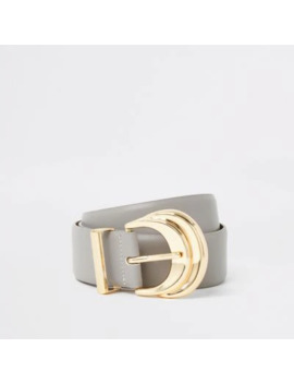 Grey Double Layered Buckle Belt by River Island