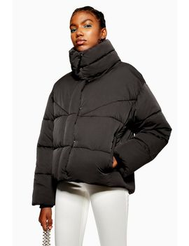Black Wrap Padded Puffer Jacket by Topshop