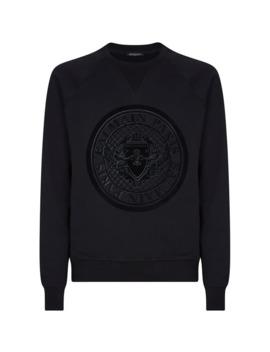Tonal Medallion Logo Sweatshirt by Balmain