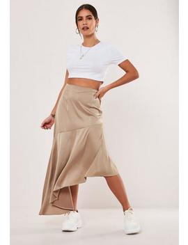 Petite Mink Satin Button Side Asymmetric Midi Skirt by Missguided