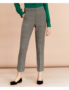 Plaid Wool Twill Cuffed Pants by Brooks Brothers