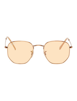 Bronze Hexagonal Evolve Sunglasses by Ray Ban