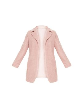 Dusty Pink Textured Oversized Coat by Prettylittlething
