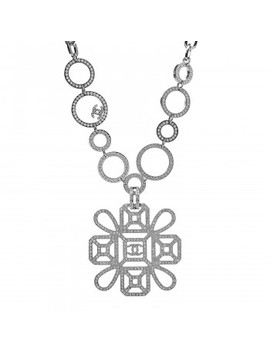 Chanel Crystal Strass Cross Cc Necklace Silver by Chanel