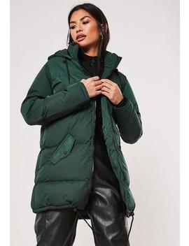 Teal Longline Hooded Puffer Coat by Missguided