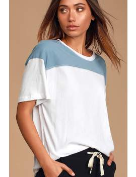 Nila White And Slate Blue Color Block Tee by Lulus